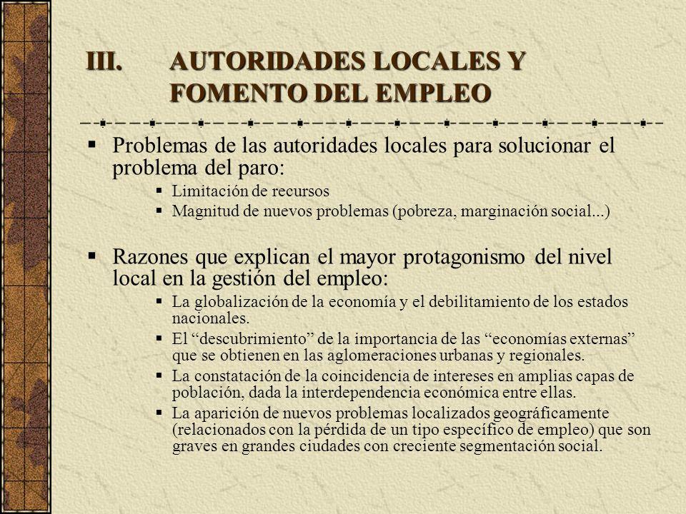 III.AUTORIDADES LOCALES Y FOMENTO DEL EMPLEO Problemas de las autoridades locales para solucionar el problema del paro: Limitación de recursos Magnitu