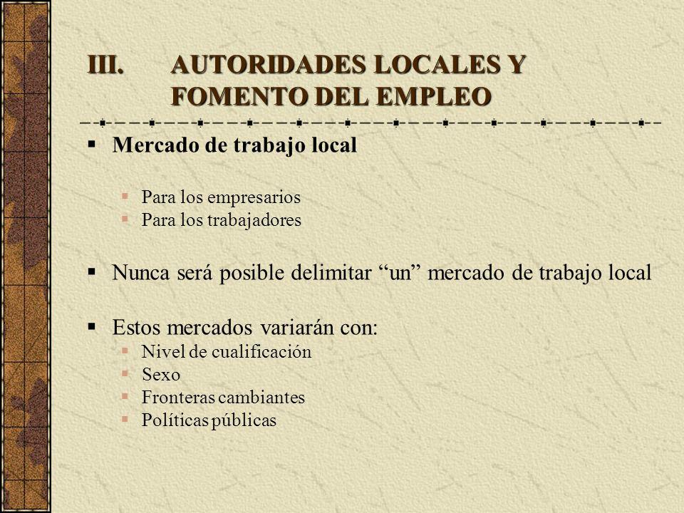 III.AUTORIDADES LOCALES Y FOMENTO DEL EMPLEO Mercado de trabajo local Para los empresarios Para los trabajadores Nunca será posible delimitar un merca