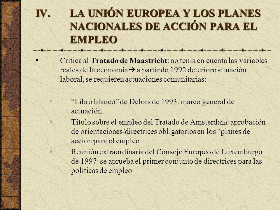 IV.LA UNIÓN EUROPEA Y LOS PLANES NACIONALES DE ACCIÓN PARA EL EMPLEO Crítica al Tratado de Maastricht: no tenía en cuenta las variables reales de la e