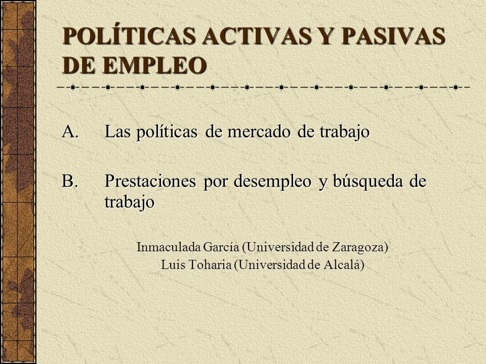 POLÍTICAS ACTIVAS Y PASIVAS DE EMPLEO A.Las políticas de mercado de trabajo B.Prestaciones por desempleo y búsqueda de trabajo Inmaculada García (Univ