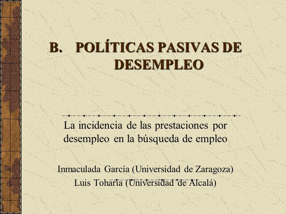 B.POLÍTICAS PASIVAS DE DESEMPLEO La incidencia de las prestaciones por desempleo en la búsqueda de empleo Inmaculada García (Universidad de Zaragoza)