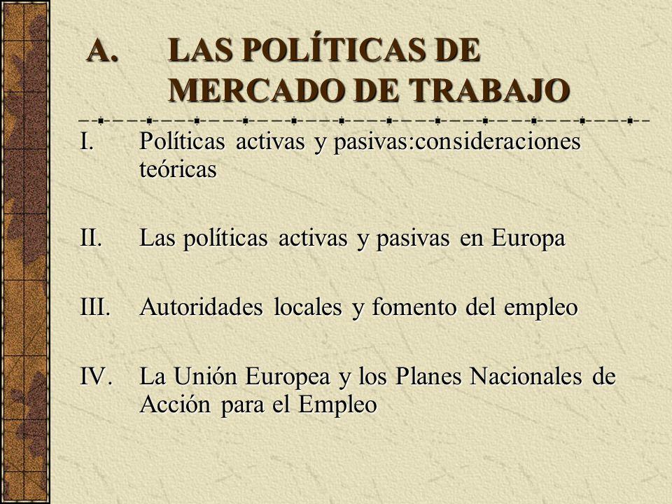 A.LAS POLÍTICAS DE MERCADO DE TRABAJO I.Políticas activas y pasivas:consideraciones teóricas II.Las políticas activas y pasivas en Europa III.Autorida