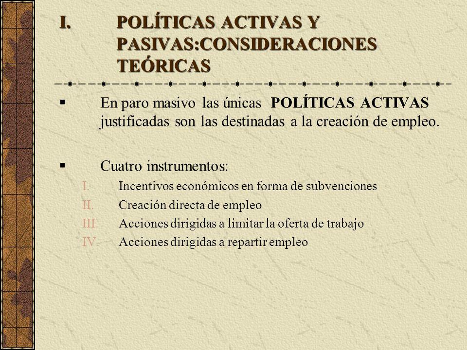 I.POLÍTICAS ACTIVAS Y PASIVAS:CONSIDERACIONES TEÓRICAS En paro masivo las únicas POLÍTICAS ACTIVAS justificadas son las destinadas a la creación de em
