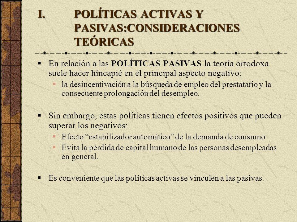 I.POLÍTICAS ACTIVAS Y PASIVAS:CONSIDERACIONES TEÓRICAS En relación a las POLÍTICAS PASIVAS la teoría ortodoxa suele hacer hincapié en el principal asp