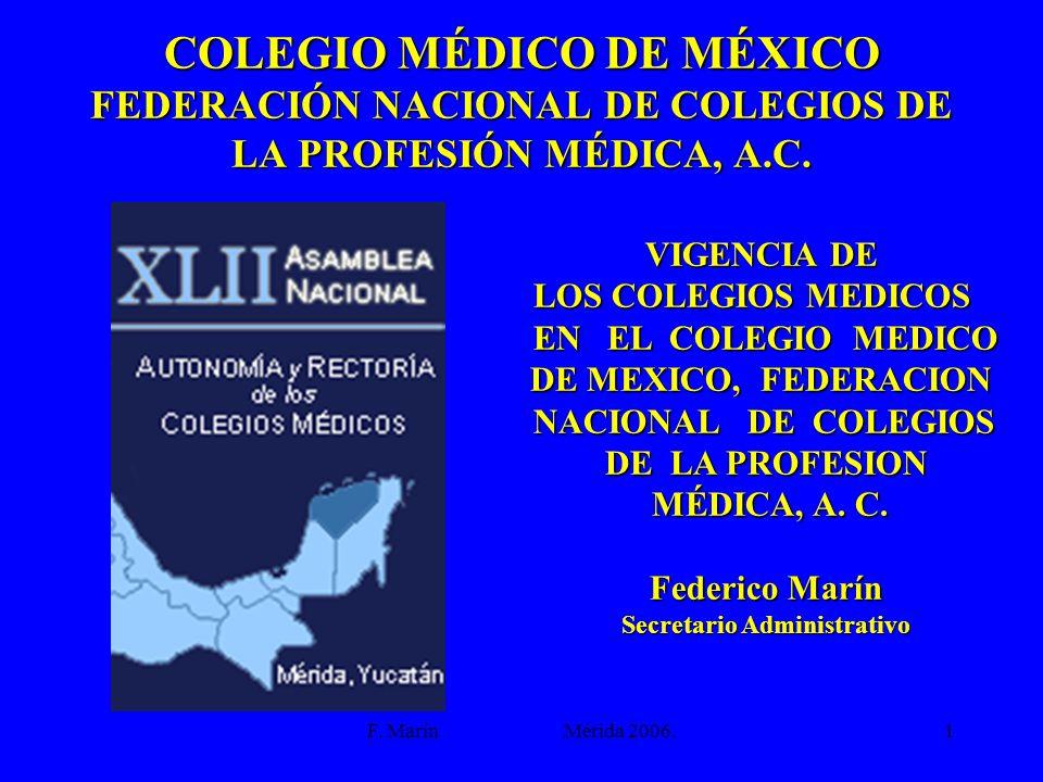 F. Marín Mérida 2006.1 COLEGIO MÉDICO DE MÉXICO FEDERACIÓN NACIONAL DE COLEGIOS DE LA PROFESIÓN MÉDICA, A.C. VIGENCIA DE LOS COLEGIOS MEDICOS EN EL CO