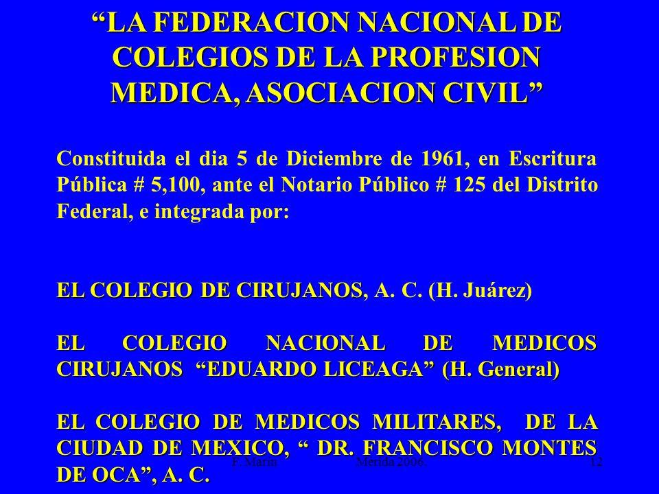 F. Marín Mérida 2006.12 LA FEDERACION NACIONAL DE COLEGIOS DE LA PROFESION MEDICA, ASOCIACION CIVIL Constituida el dia 5 de Diciembre de 1961, en Escr
