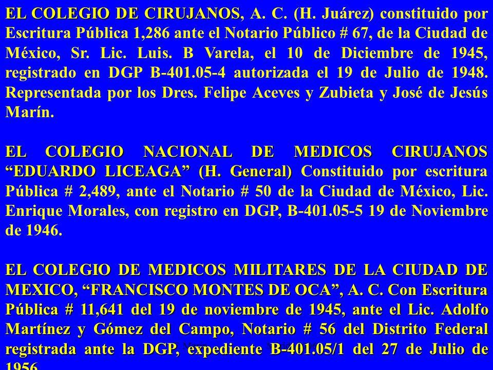 F. Marín Mérida 2006.13 EL COLEGIO DE CIRUJANOS EL COLEGIO DE CIRUJANOS, A. C. (H. Juárez) constituido por Escritura Pública 1,286 ante el Notario Púb