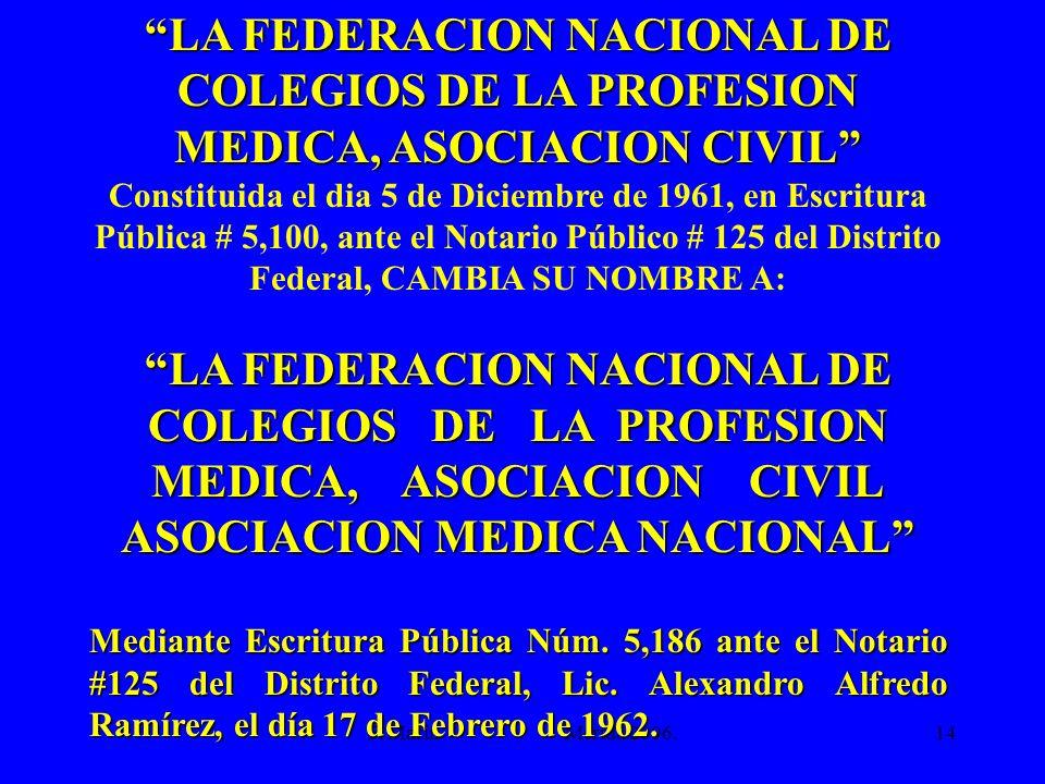 F. Marín Mérida 2006.14 LA FEDERACION NACIONAL DE COLEGIOS DE LA PROFESION MEDICA, ASOCIACION CIVIL Constituida el dia 5 de Diciembre de 1961, en Escr