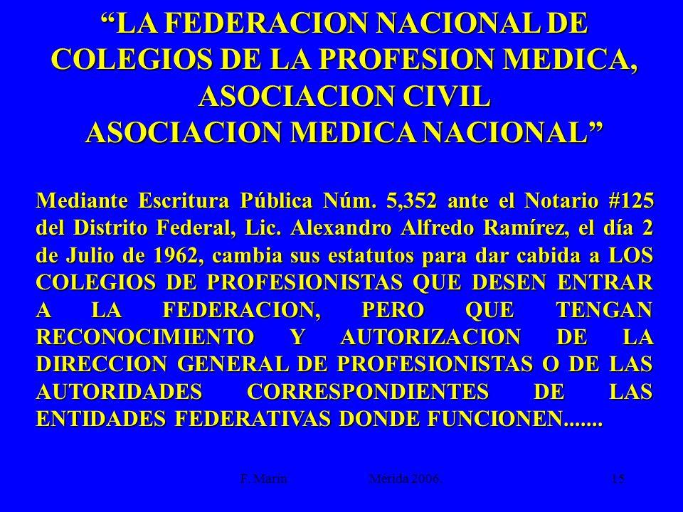 F. Marín Mérida 2006.15 LA FEDERACION NACIONAL DE COLEGIOS DE LA PROFESION MEDICA, ASOCIACION CIVIL ASOCIACION MEDICA NACIONAL Mediante Escritura Públ