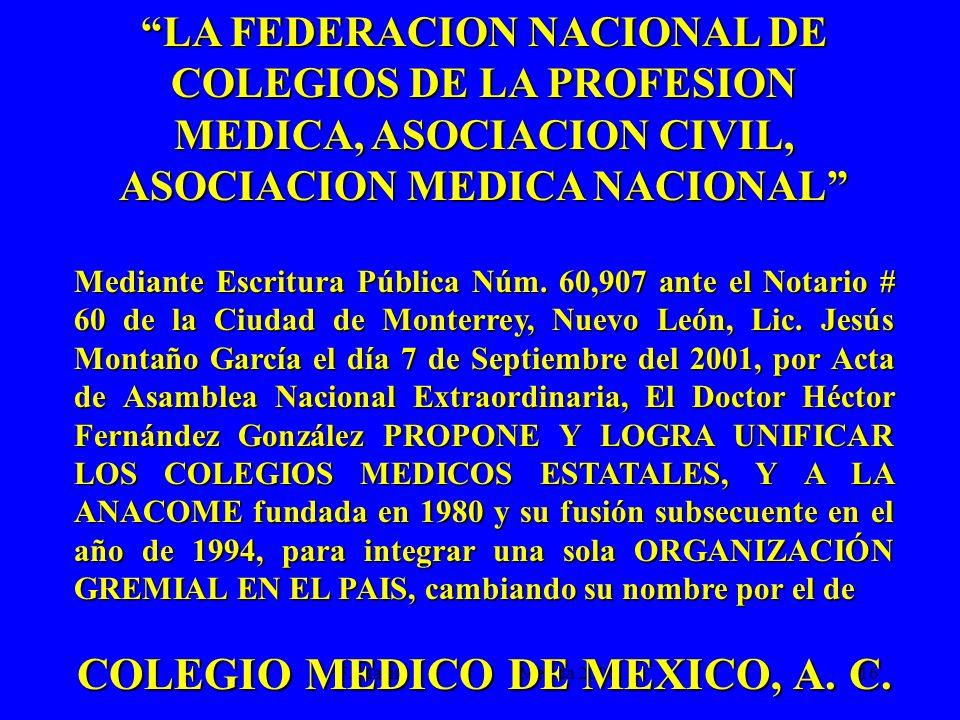 F. Marín Mérida 2006.16 LA FEDERACION NACIONAL DE COLEGIOS DE LA PROFESION MEDICA, ASOCIACION CIVIL, ASOCIACION MEDICA NACIONAL Mediante Escritura Púb