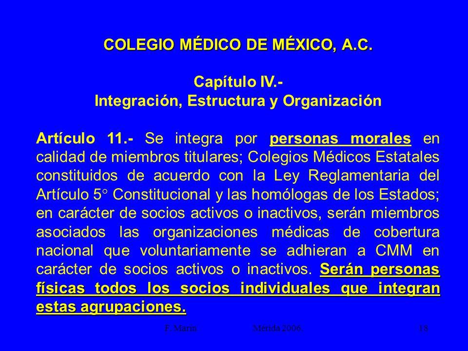 F. Marín Mérida 2006.18 COLEGIO MÉDICO DE MÉXICO, A.C. Capítulo IV.- Integración, Estructura y Organización Serán personas físicas todos los socios in