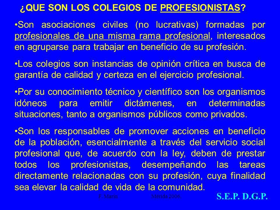 F. Marín Mérida 2006.2 ¿QUE SON LOS COLEGIOS DE PROFESIONISTAS? Son asociaciones civiles (no lucrativas) formadas por profesionales de una misma rama