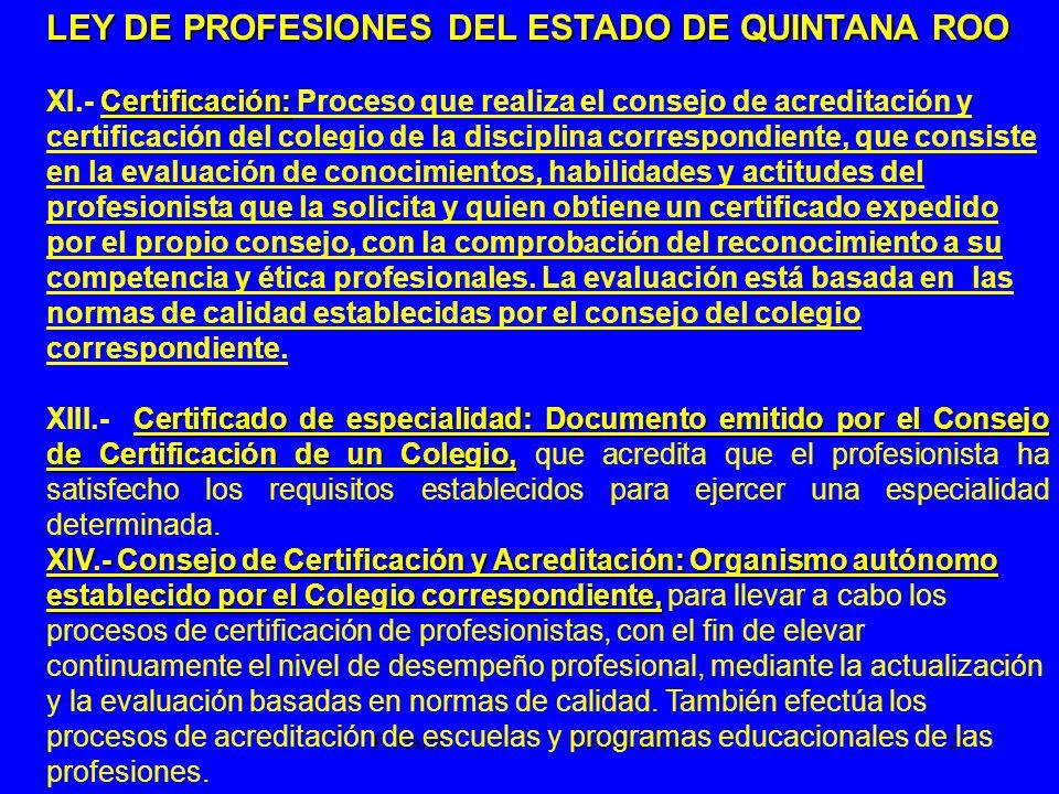 F. Marín Mérida 2006.24 LEY DE PROFESIONES DEL ESTADO DE QUINTANA ROO Certificación: XI.- Certificación: Proceso que realiza el consejo de acreditació