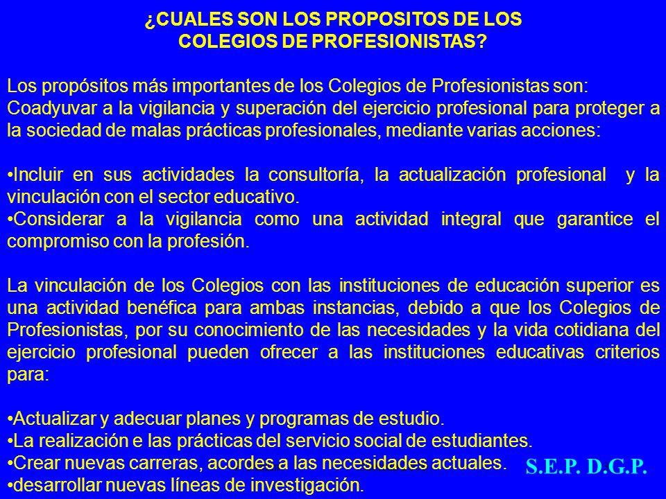 F. Marín Mérida 2006.3 ¿CUALES SON LOS PROPOSITOS DE LOS COLEGIOS DE PROFESIONISTAS? Los propósitos más importantes de los Colegios de Profesionistas