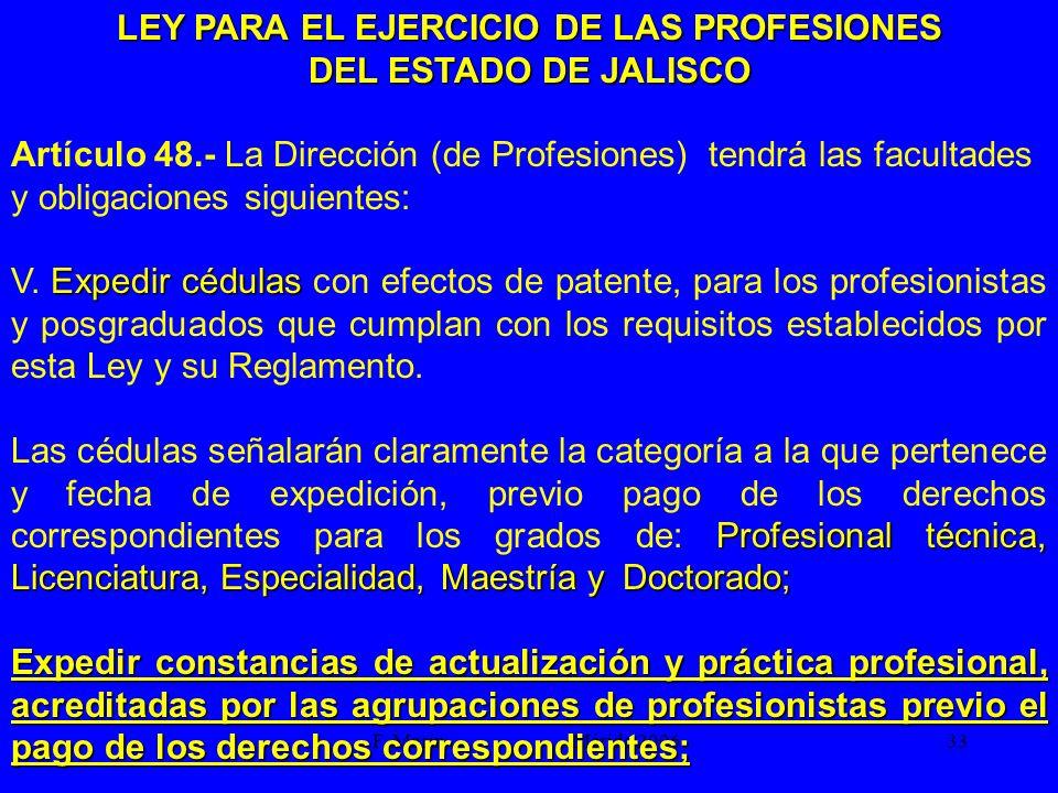 F. Marín Mérida 2006.33 LEY PARA EL EJERCICIO DE LAS PROFESIONES DEL ESTADO DE JALISCO Artículo 48.- La Dirección (de Profesiones) tendrá las facultad
