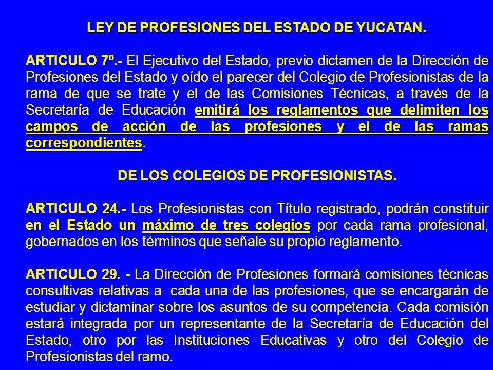 F. Marín Mérida 2006.34 LEY DE PROFESIONES DEL ESTADO DE YUCATAN. emitirá los reglamentos que delimiten los campos de acción de las profesiones y el d