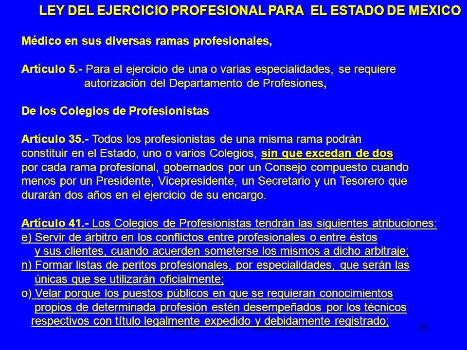 F. Marín Mérida 2006.36 LEY DEL EJERCICIO PROFESIONAL PARA EL ESTADO DE MEXICO Médico en sus diversas ramas profesionales, Artículo 5.- Para el ejerci