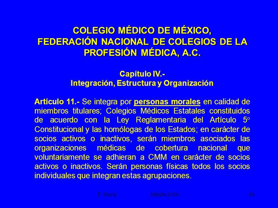 F. Marín Mérida 2006.40 COLEGIO MÉDICO DE MÉXICO, FEDERACIÓN NACIONAL DE COLEGIOS DE LA PROFESIÓN MÉDICA, A.C. Capítulo IV.- Integración, Estructura y