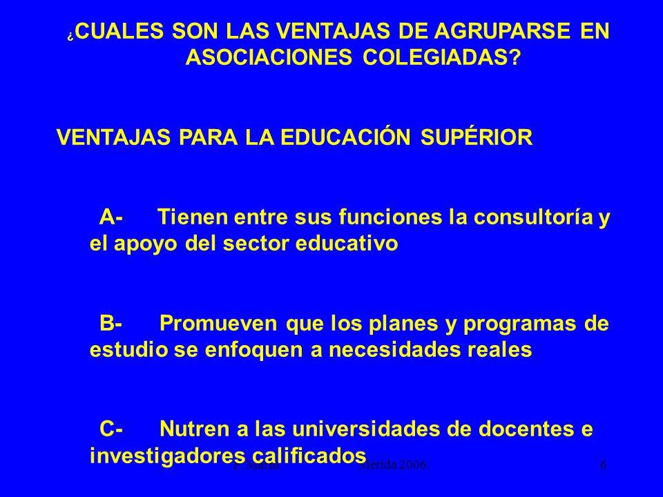 F. Marín Mérida 2006.6 ¿ CUALES SON LAS VENTAJAS DE AGRUPARSE EN ASOCIACIONES COLEGIADAS? VENTAJAS PARA LA EDUCACIÓN SUPÉRIOR A- Tienen entre sus func