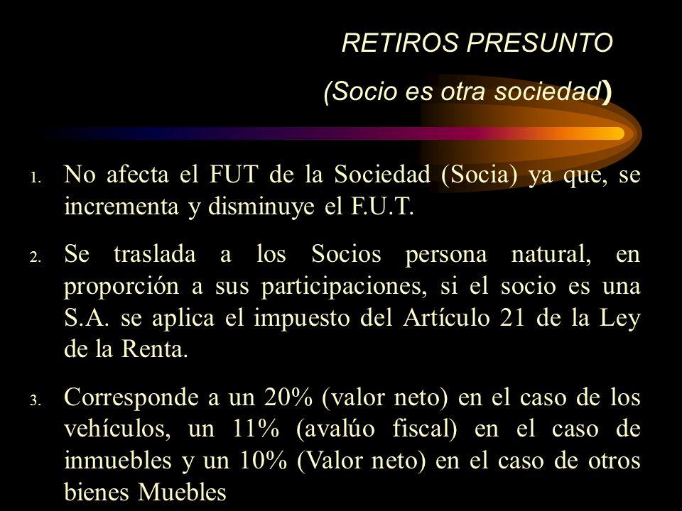 RETIROS PRESUNTO (Socio es otra sociedad ) 1. No afecta el FUT de la Sociedad (Socia) ya que, se incrementa y disminuye el F.U.T. 2. Se traslada a los