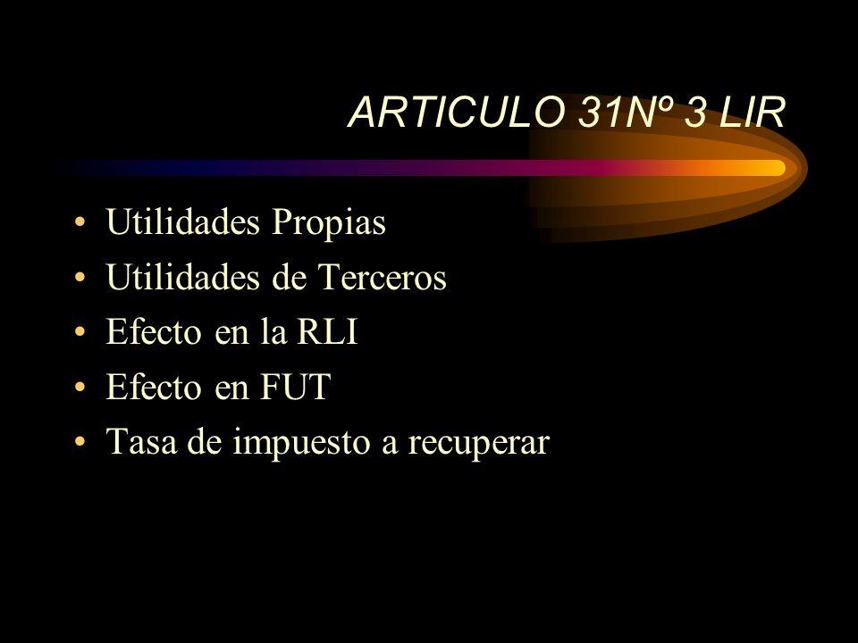 ARTICULO 31Nº 3 LIR Utilidades Propias Utilidades de Terceros Efecto en la RLI Efecto en FUT Tasa de impuesto a recuperar
