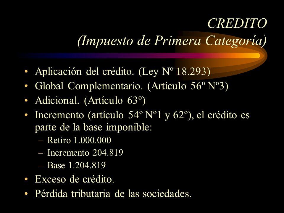 CREDITO (Impuesto de Primera Categoría) Aplicación del crédito. (Ley Nº 18.293) Global Complementario. (Artículo 56º Nº3) Adicional. (Artículo 63º) In