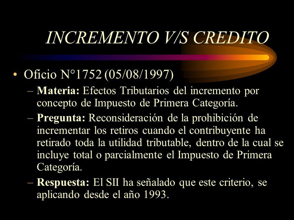 INCREMENTO V/S CREDITO Oficio N°1752 (05/08/1997) –Materia: Efectos Tributarios del incremento por concepto de Impuesto de Primera Categoría. –Pregunt