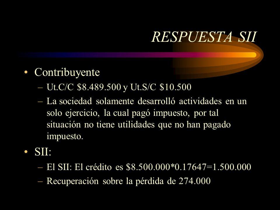 RESPUESTA SII Contribuyente –Ut.C/C $8.489.500 y Ut.S/C $10.500 –La sociedad solamente desarrolló actividades en un solo ejercicio, la cual pagó impue