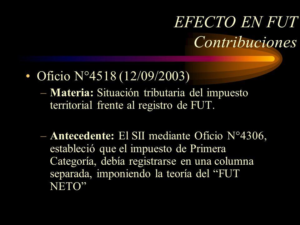 EFECTO EN FUT Contribuciones Oficio N°4518 (12/09/2003) –Materia: Situación tributaria del impuesto territorial frente al registro de FUT. –Antecedent