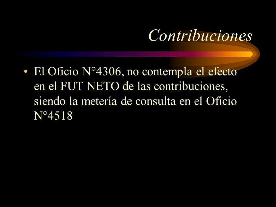Contribuciones El Oficio N°4306, no contempla el efecto en el FUT NETO de las contribuciones, siendo la metería de consulta en el Oficio N°4518