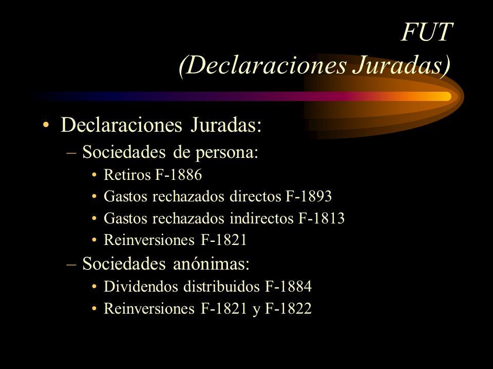 FUT (Declaraciones Juradas) Declaraciones Juradas: –Sociedades de persona: Retiros F-1886 Gastos rechazados directos F-1893 Gastos rechazados indirect