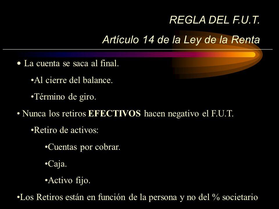__________________________________________________________ REGLA DEL F.U.T. Artículo 14 de la Ley de la Renta La cuenta se saca al final. Al cierre de