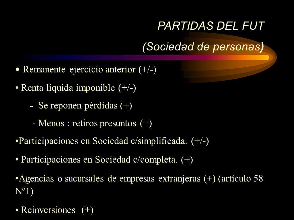 PARTIDAS DEL FUT (Sociedad de personas) Remanente ejercicio anterior (+/-) Renta liquida imponible (+/-) - Se reponen pérdidas (+) - Menos : retiros p