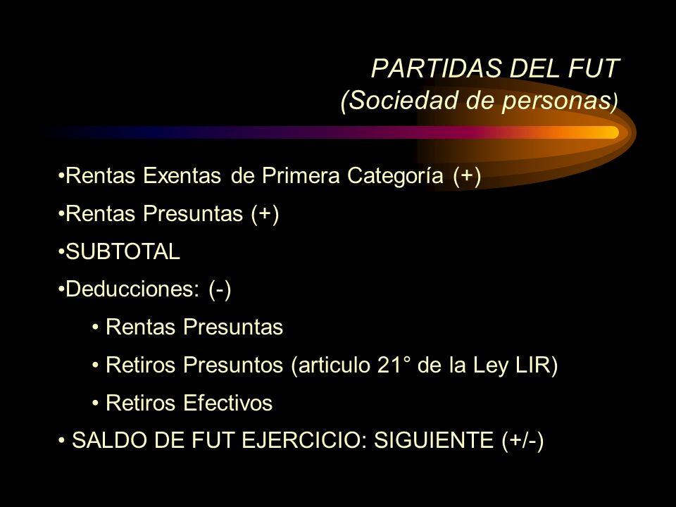 Rentas Exentas de Primera Categoría (+) Rentas Presuntas (+) SUBTOTAL Deducciones: (-) Rentas Presuntas Retiros Presuntos (articulo 21° de la Ley LIR)