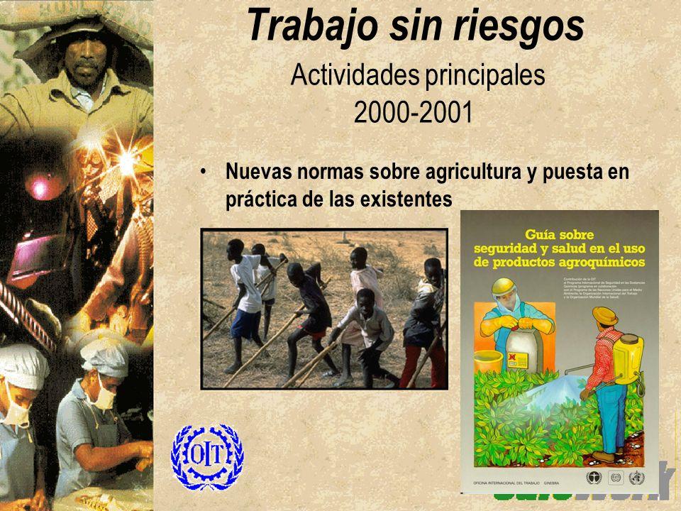 Nuevas normas sobre agricultura y puesta en práctica de las existentes Trabajo sin riesgos Actividades principales 2000-2001