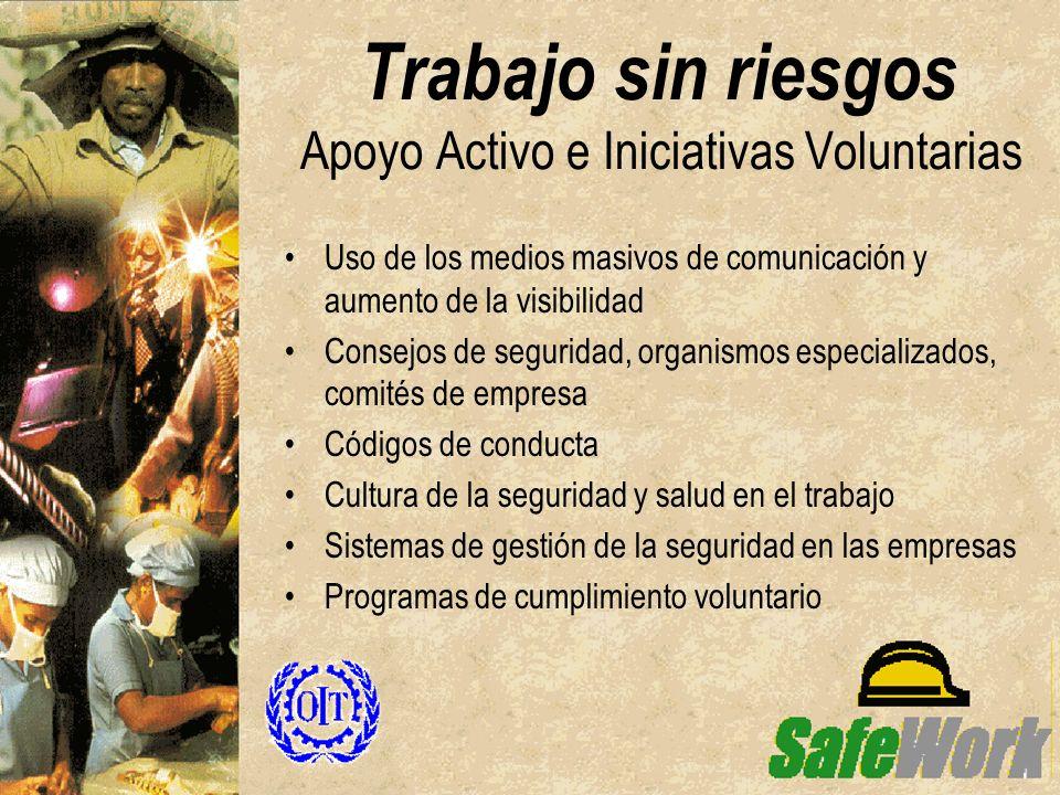 Trabajo sin riesgos Apoyo Activo e Iniciativas Voluntarias Uso de los medios masivos de comunicación y aumento de la visibilidad Consejos de seguridad