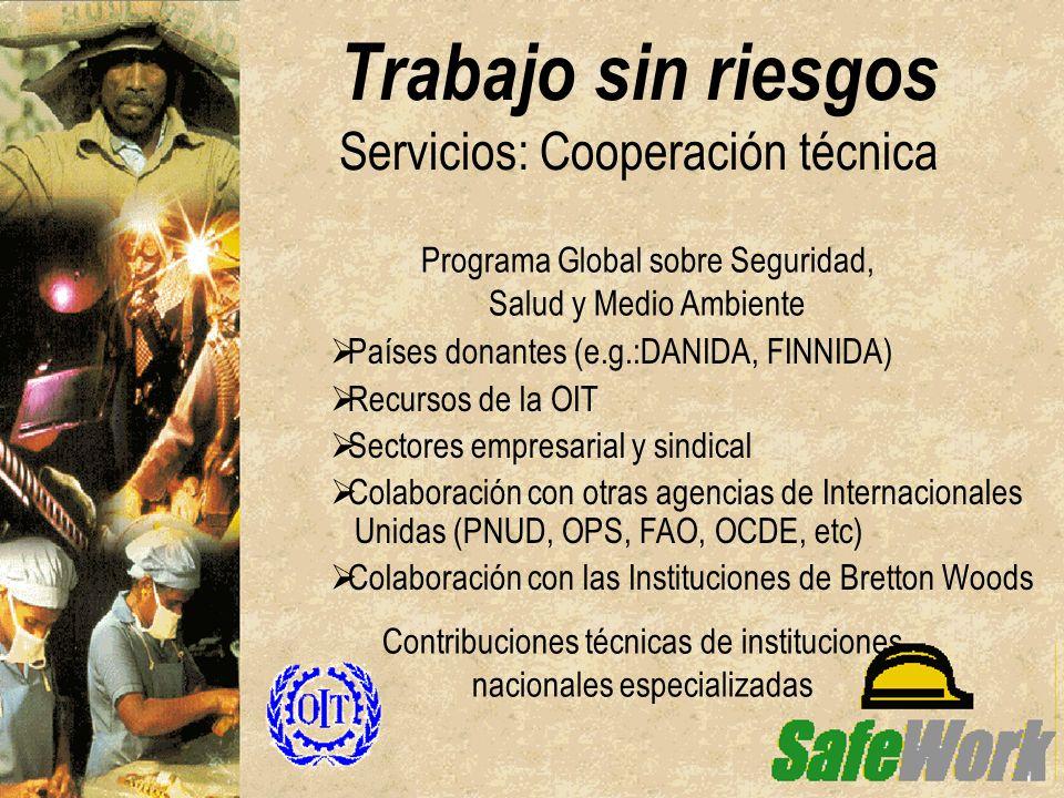Trabajo sin riesgos Servicios: Cooperación técnica Países donantes (e.g.:DANIDA, FINNIDA) Recursos de la OIT Sectores empresarial y sindical Colaborac