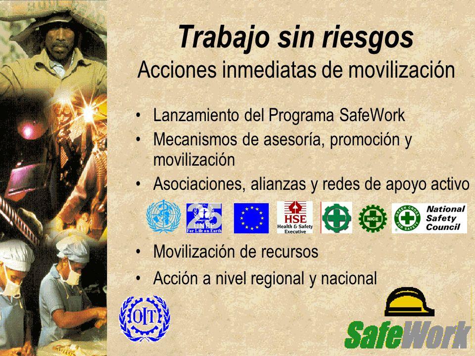 Trabajo sin riesgos Acciones inmediatas de movilización Lanzamiento del Programa SafeWork Mecanismos de asesoría, promoción y movilización Asociacione