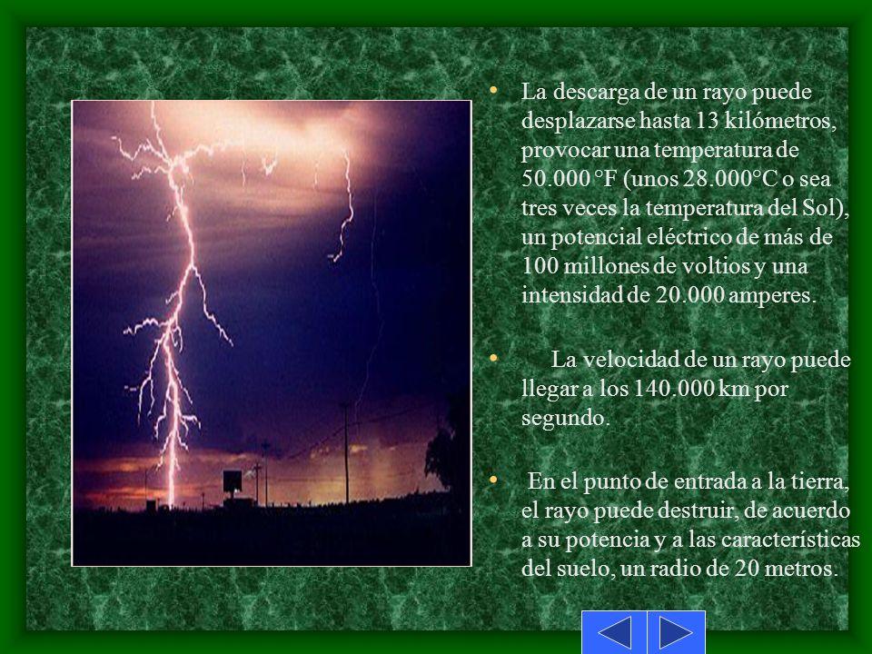 La mayor parte de los relámpagos de los rayos tiene una duración de menos de 0.50s. Por lo general después de la descarga inicial tiene lugar otra ion