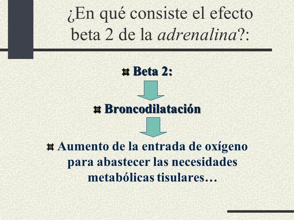 ¿En qué consiste el efecto beta 2 de la adrenalina?: Beta 2: Broncodilatación Aumento de la entrada de oxígeno para abastecer las necesidades metabóli