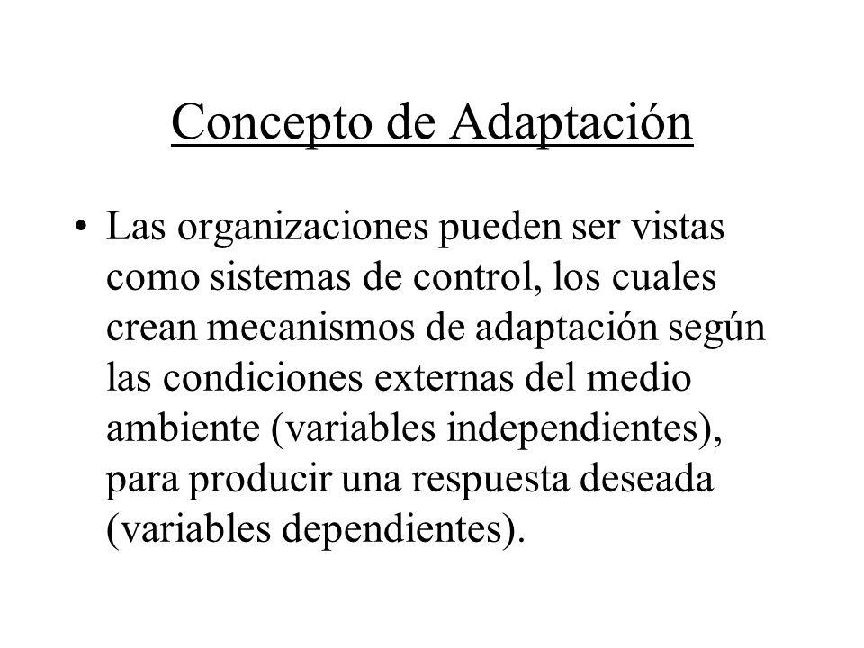 Concepto de Adaptación Las organizaciones pueden ser vistas como sistemas de control, los cuales crean mecanismos de adaptación según las condiciones