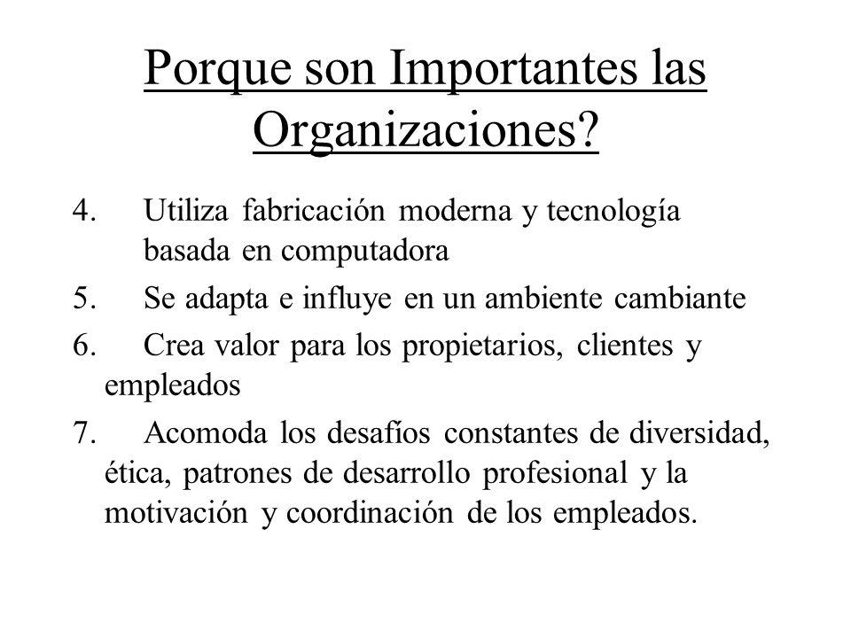 Porque son Importantes las Organizaciones? 4. Utiliza fabricación moderna y tecnología basada en computadora 5. Se adapta e influye en un ambiente cam