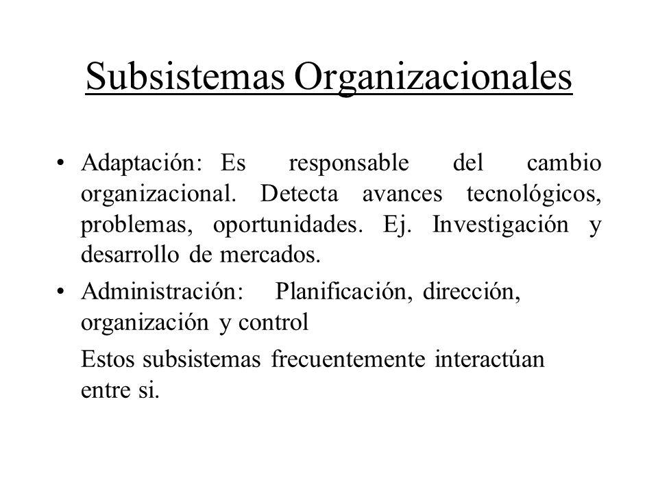 Subsistemas Organizacionales Adaptación: Es responsable del cambio organizacional. Detecta avances tecnológicos, problemas, oportunidades. Ej. Investi