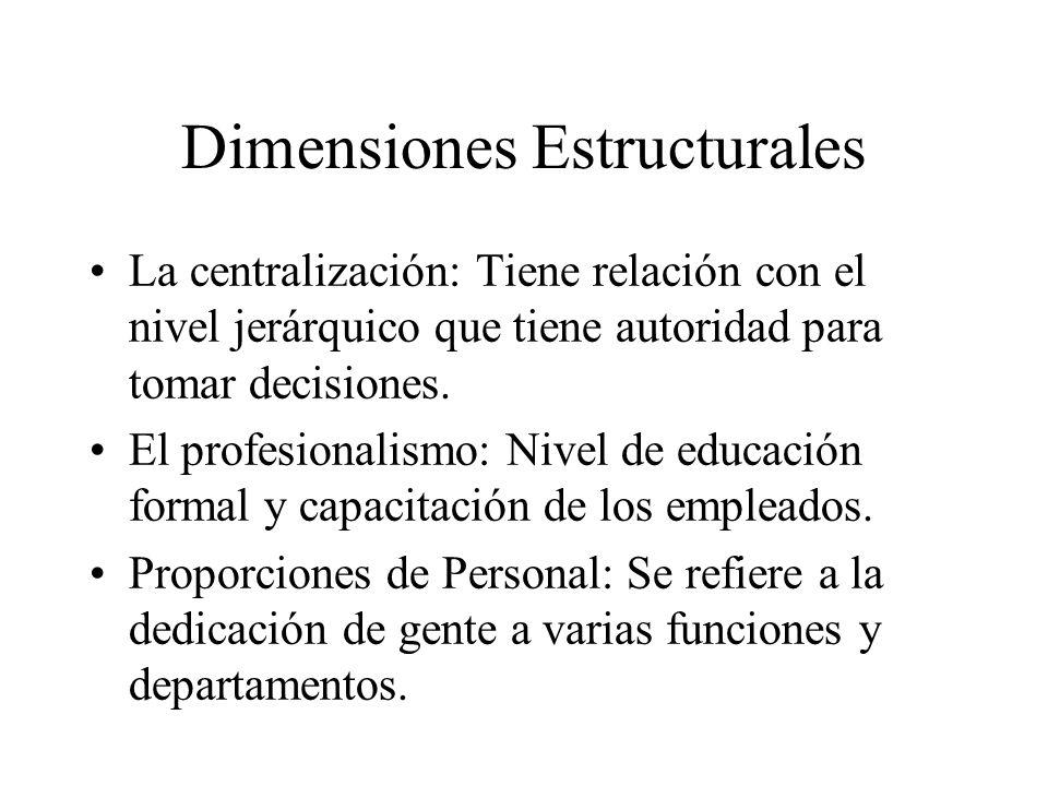 Dimensiones Estructurales La centralización: Tiene relación con el nivel jerárquico que tiene autoridad para tomar decisiones. El profesionalismo: Niv