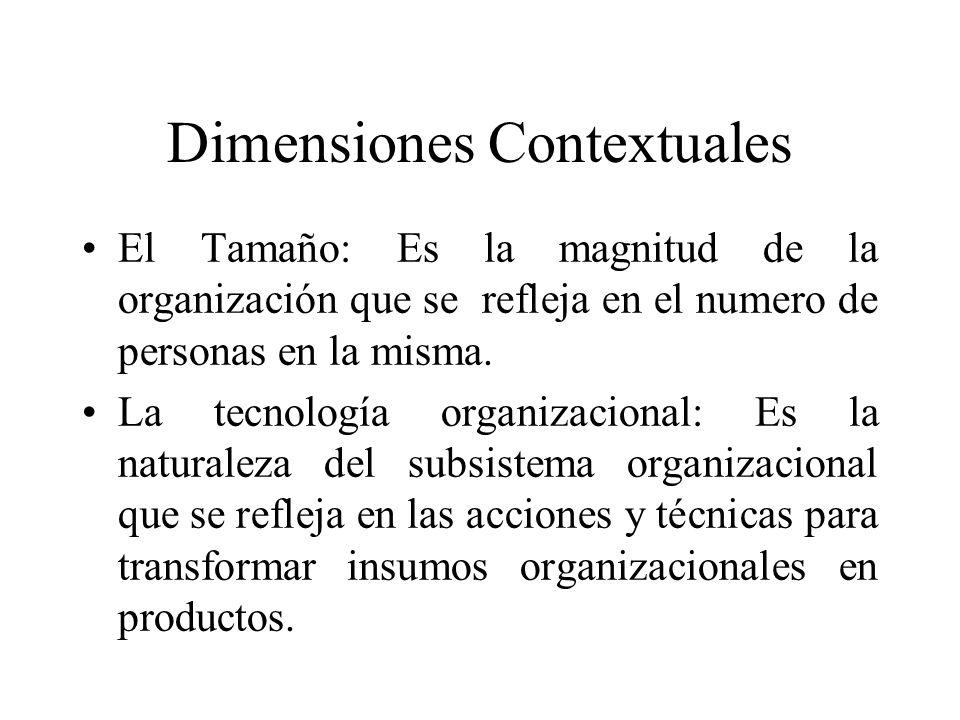 Dimensiones Contextuales El Tamaño: Es la magnitud de la organización que se refleja en el numero de personas en la misma. La tecnología organizaciona