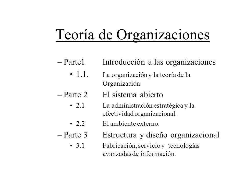 Teoría de Organizaciones –Parte1 Introducción a las organizaciones 1.1. La organización y la teoría de la Organización –Parte 2El sistema abierto 2.1