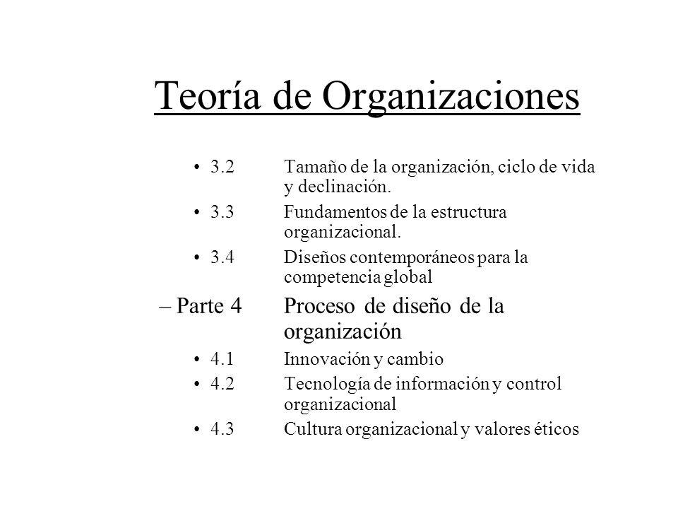 Teoría de Organizaciones 3.2Tamaño de la organización, ciclo de vida y declinación. 3.3Fundamentos de la estructura organizacional. 3.4Diseños contemp
