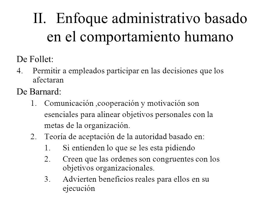 II.Enfoque administrativo basado en el comportamiento humano De Follet: 4.Permitir a empleados participar en las decisiones que los afectaran De Barna