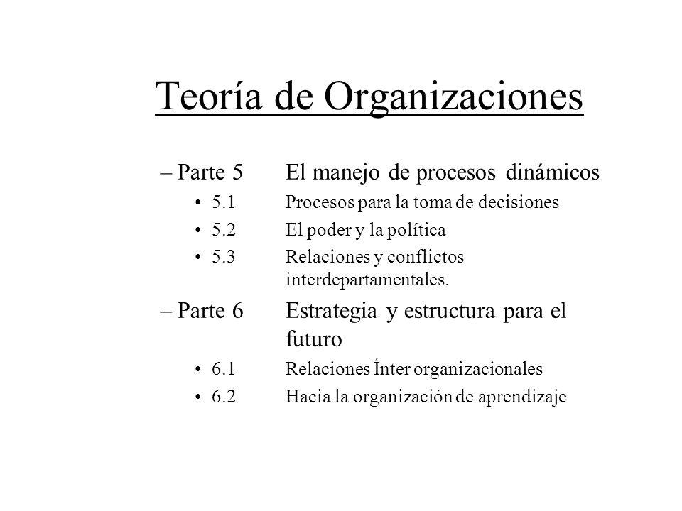 Teoría de Organizaciones –Parte 5El manejo de procesos dinámicos 5.1Procesos para la toma de decisiones 5.2El poder y la política 5.3Relaciones y conf