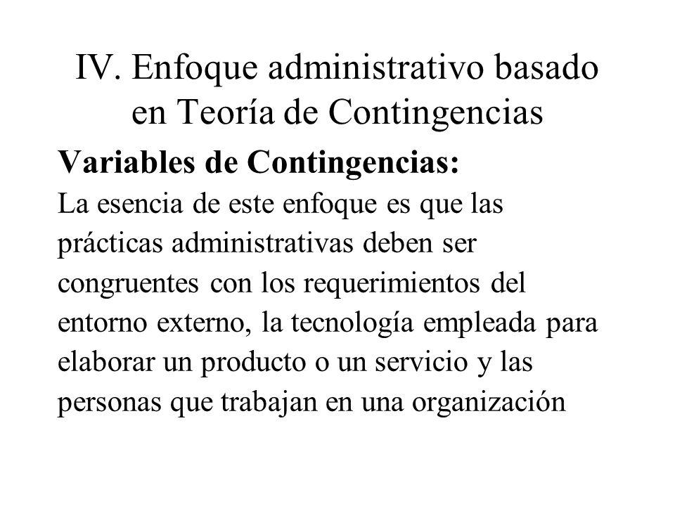 IV.Enfoque administrativo basado en Teoría de Contingencias Variables de Contingencias: La esencia de este enfoque es que las prácticas administrativa